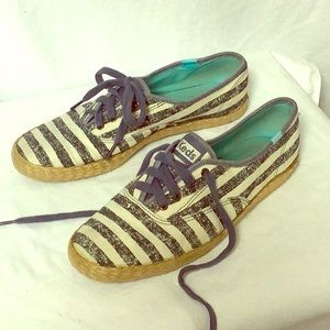 Keds Navy And Off White Striped Espadrille Sneaker